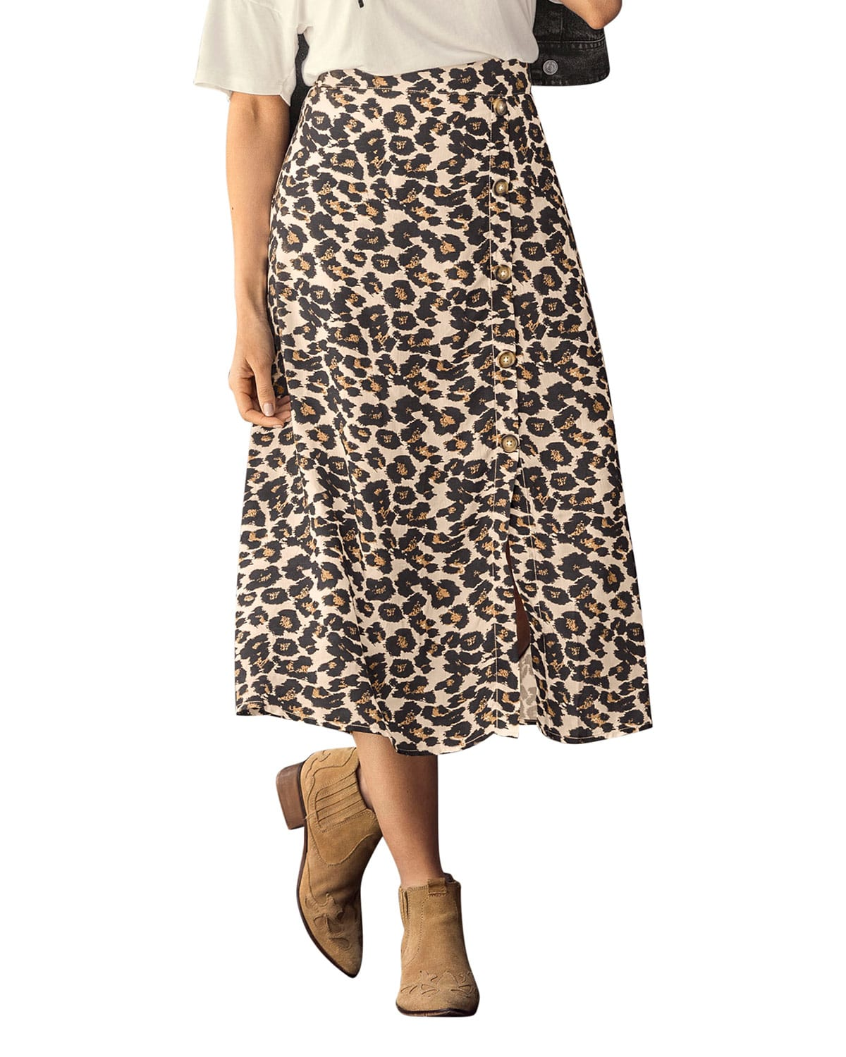 Animal Print A Line Midi Skirt with Faux Button Front