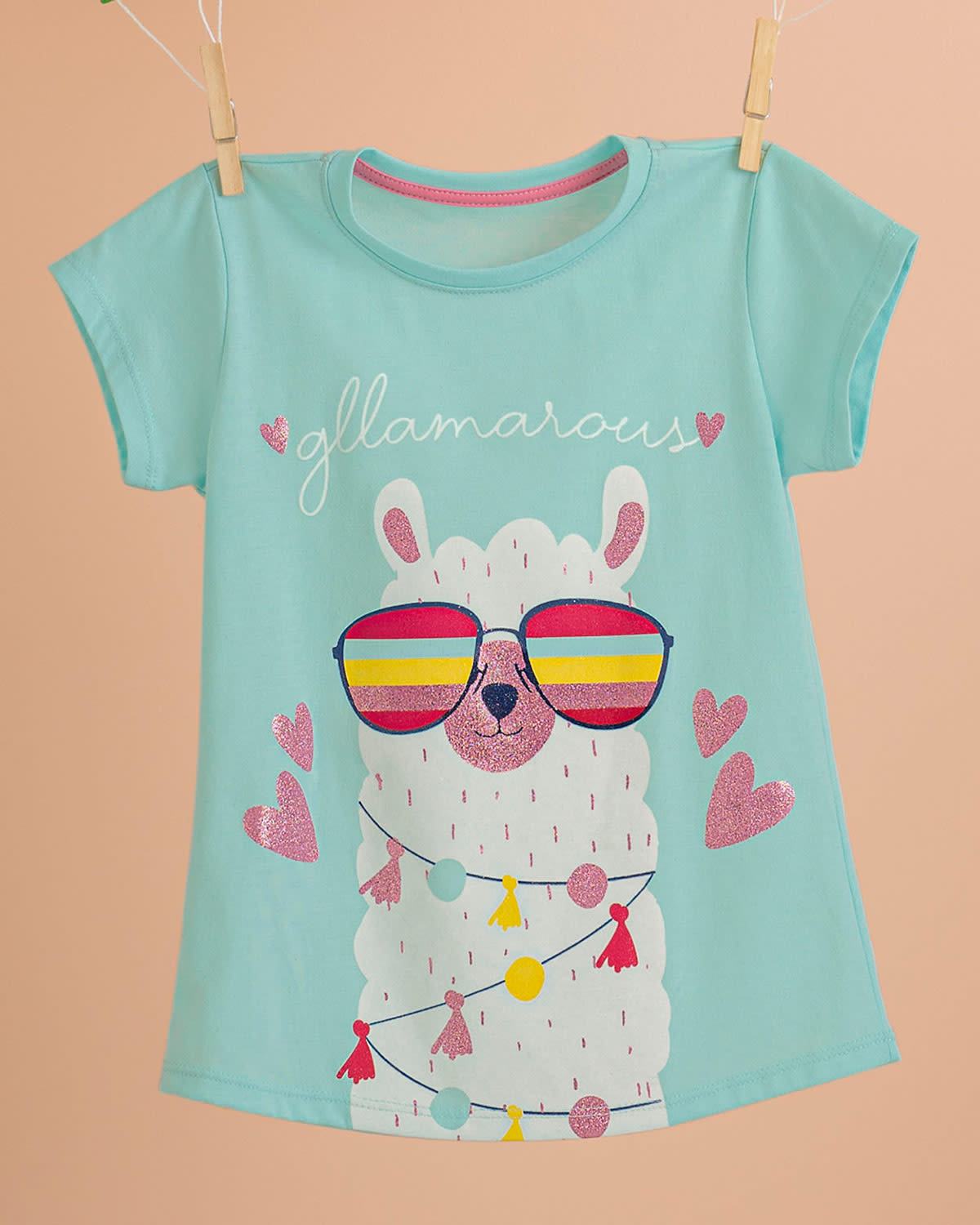 Girls Cotton Tee with Glitter Graphic