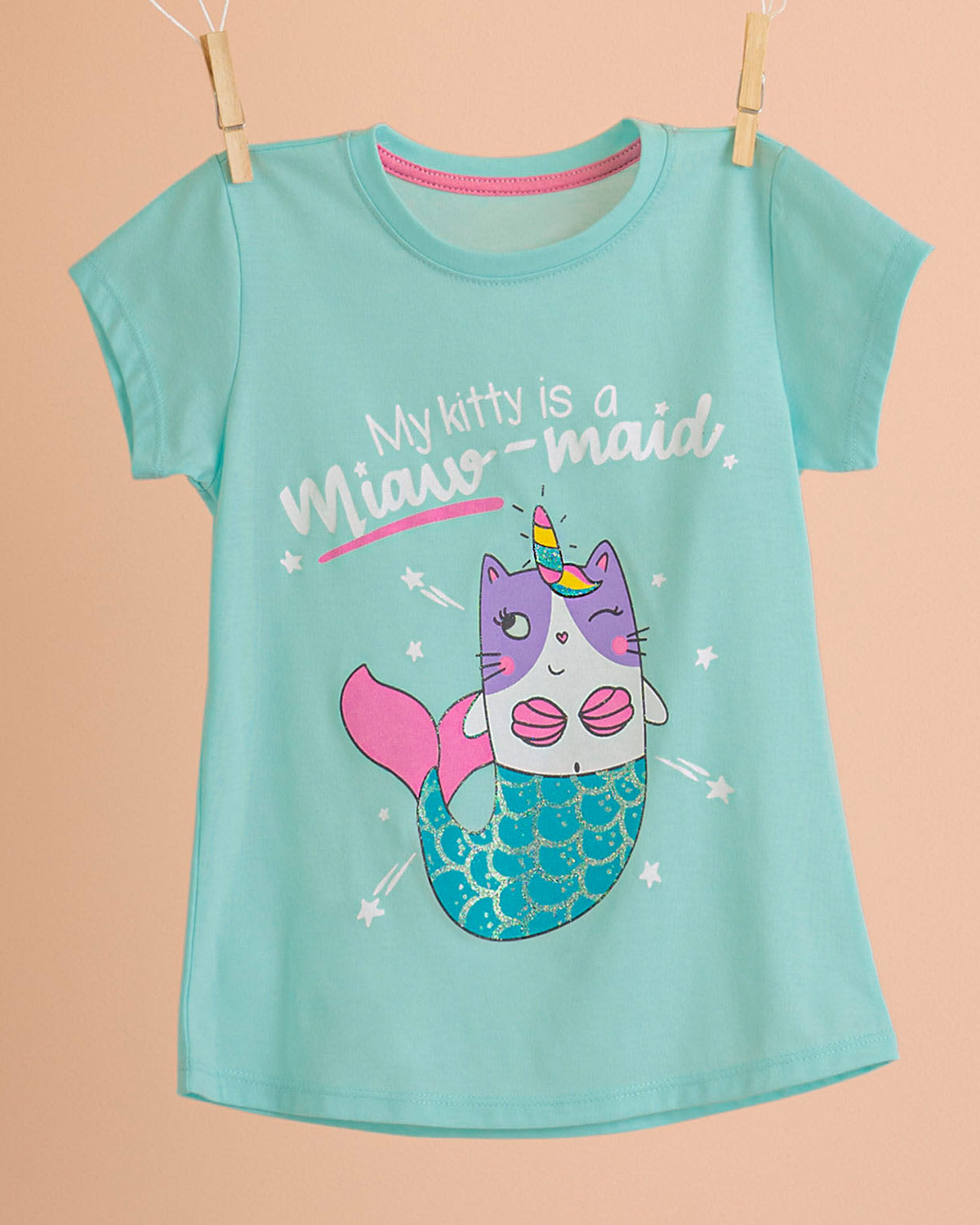 Girls Graphic Tee with Glitter Mermaid Scales