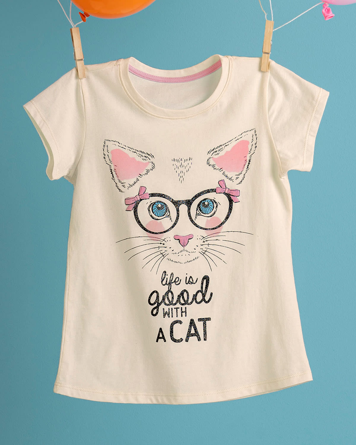 Girls Cat Graphic Tee with Glitter Accents