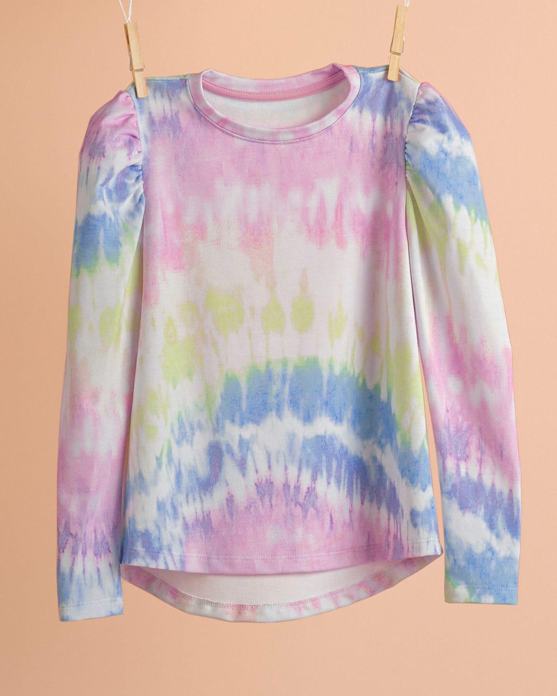 Balloon Sleeve Tie Dye Sweatshirt for Girls