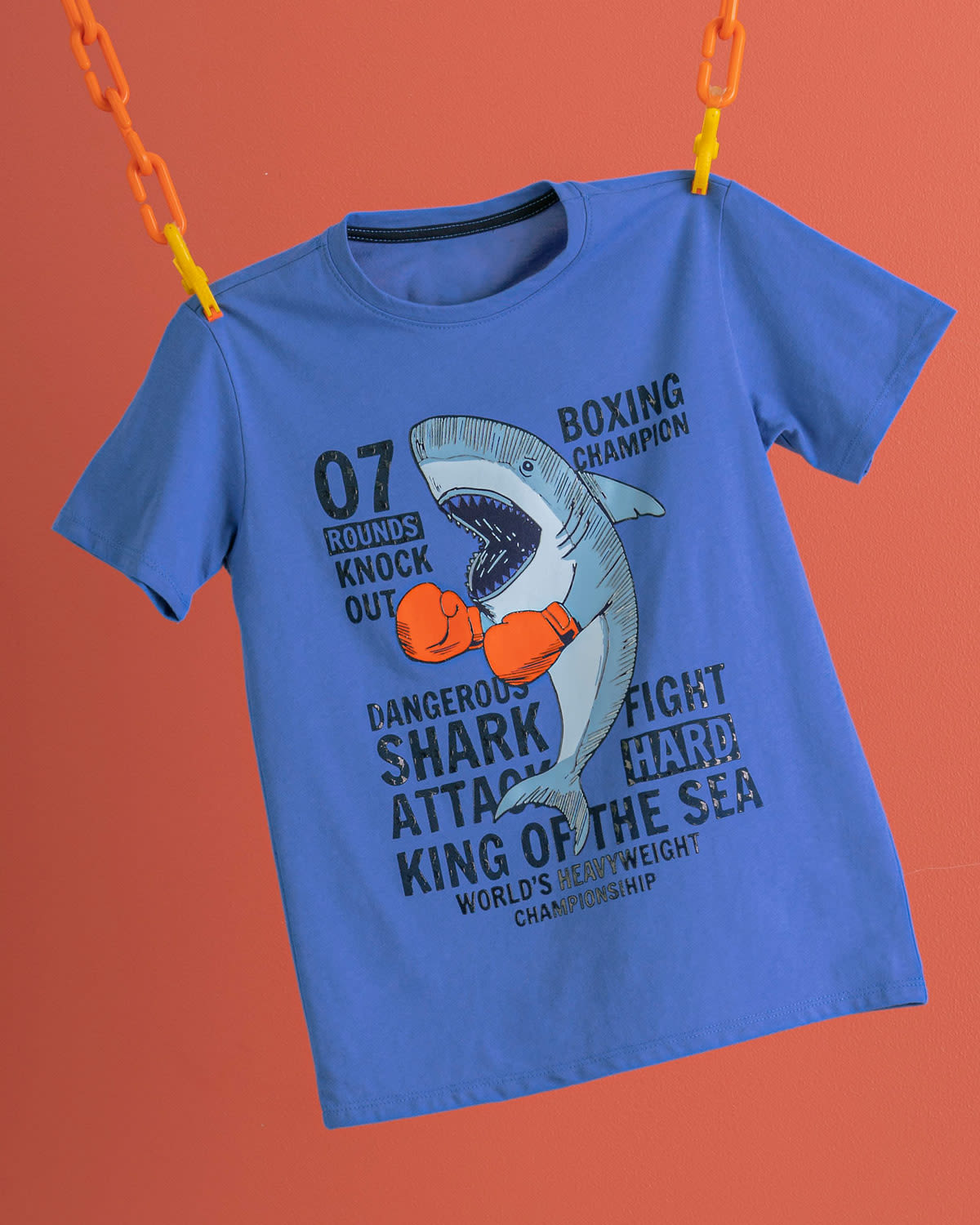 Graphic Tee Shirt for Kids with Shark Print