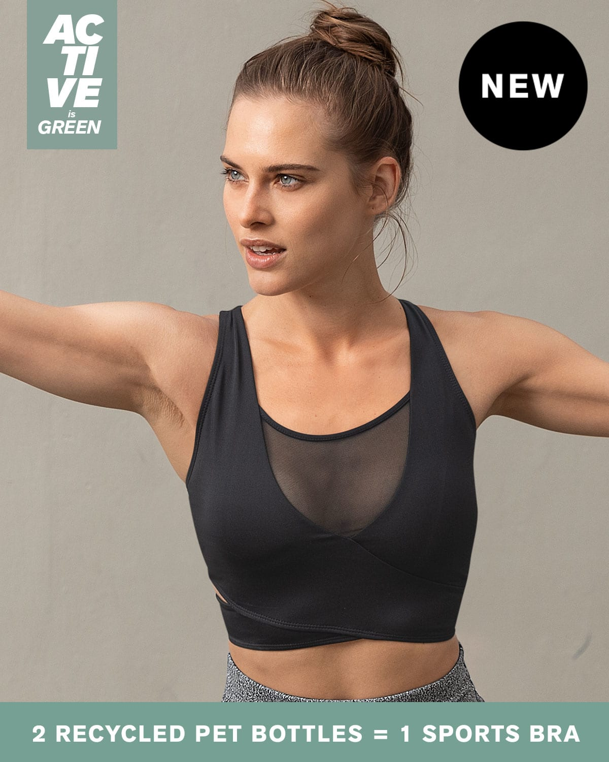 Eco-Friendly Recycled Sports Bra - Mesh Front