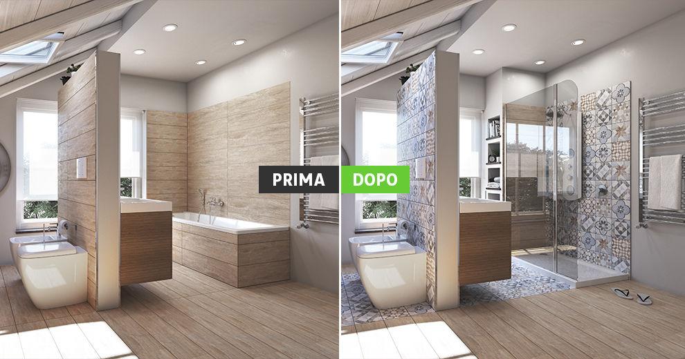 Bagno con doccia e vasca nr52 regardsdefemmes - Posa piatto doccia prima o dopo piastrelle ...