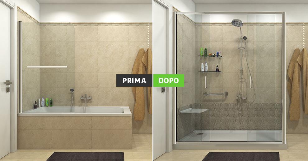 Doccia con seduta in muratura te97 regardsdefemmes for Togliere vasca da bagno e mettere doccia