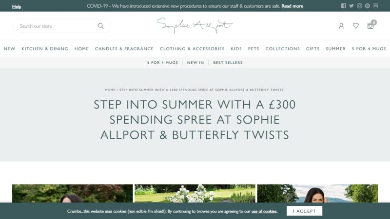 £300 Spending Spree At Sophie Allport & Butterfly Twists