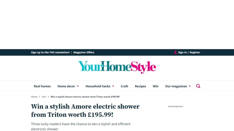 Amore Electric Shower From Triton