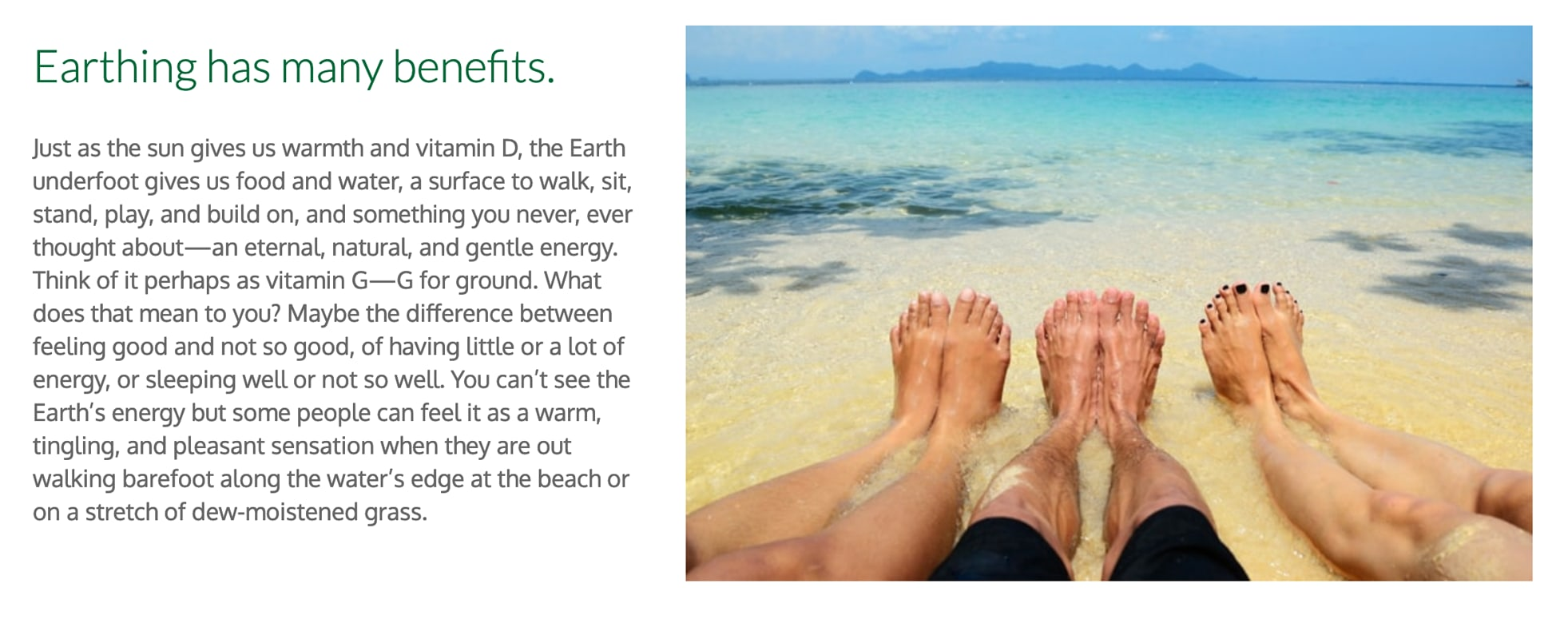 Image explaining what grounding is, which involves having barefoot contact with the earth