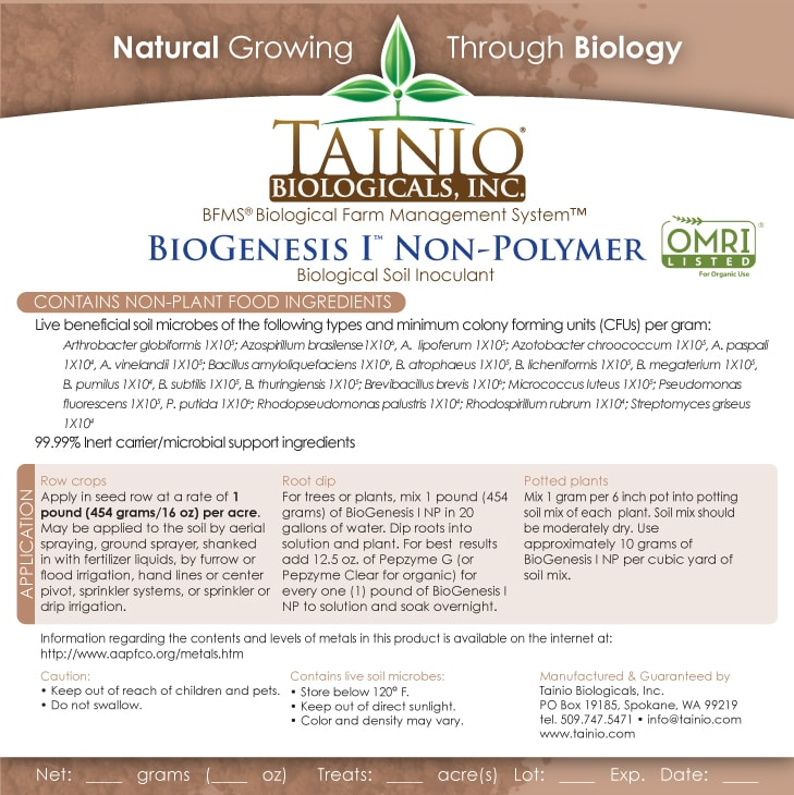Package labeling of a fertilizer product by Tainio biologicals showing the exact same ingredients as the previous formulation of Prescript Assist