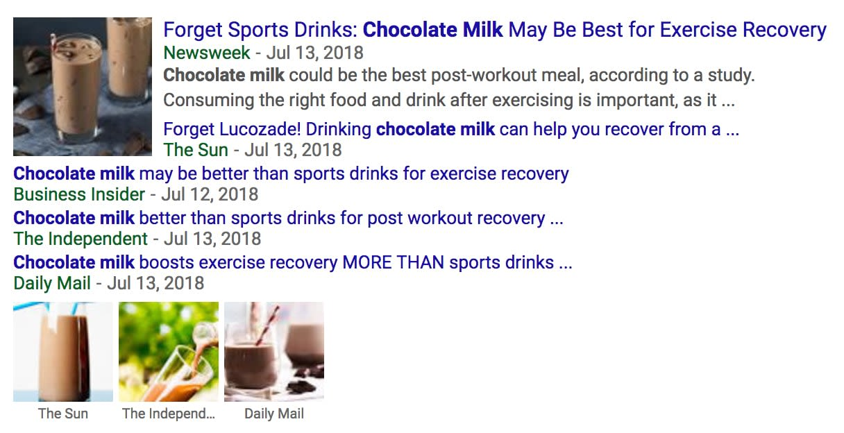 The media's response to the results of the chocolate milk meta-analysis published in Nature