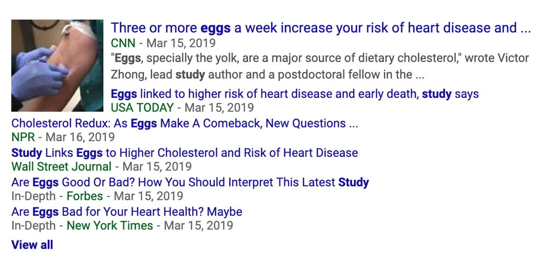 The media response to the publication of the JAMA egg study