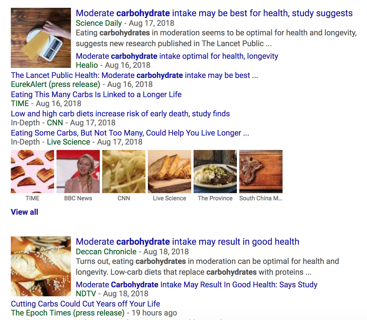 The media's reaction to the results of the carbohydrate study