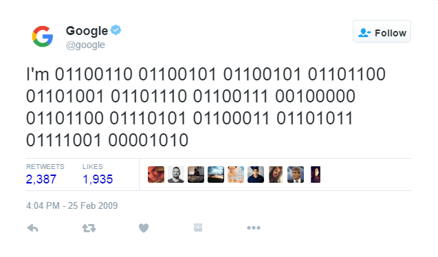 Google's First Tweet - About Google