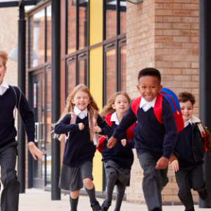 Image of schoolchildren running
