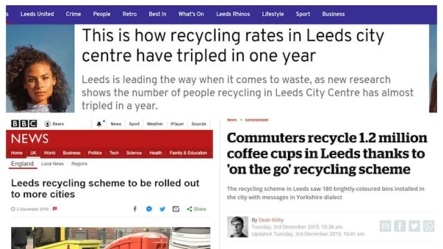 Headlines about the success of #LeedsByExample