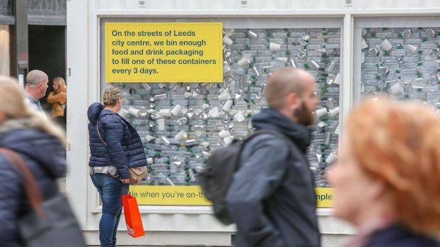 Photo of an exhibition showing how much food and drink packaging we waste in Leeds every three days