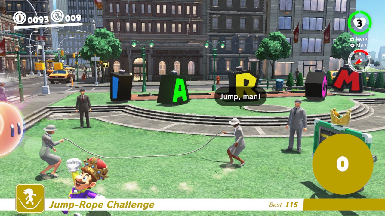 "A New Donk City resident encourages Mario to ""Jump, Man!"" as he nears the jump rope."