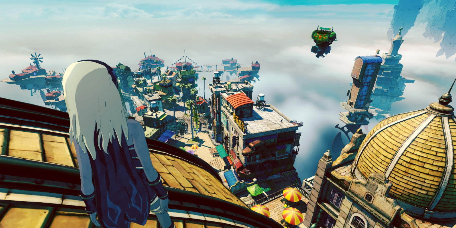 Gravity Rush 2's plucky heroine, Kat, overlooks the colorful tents of the street markets in Jirga Para Lhao