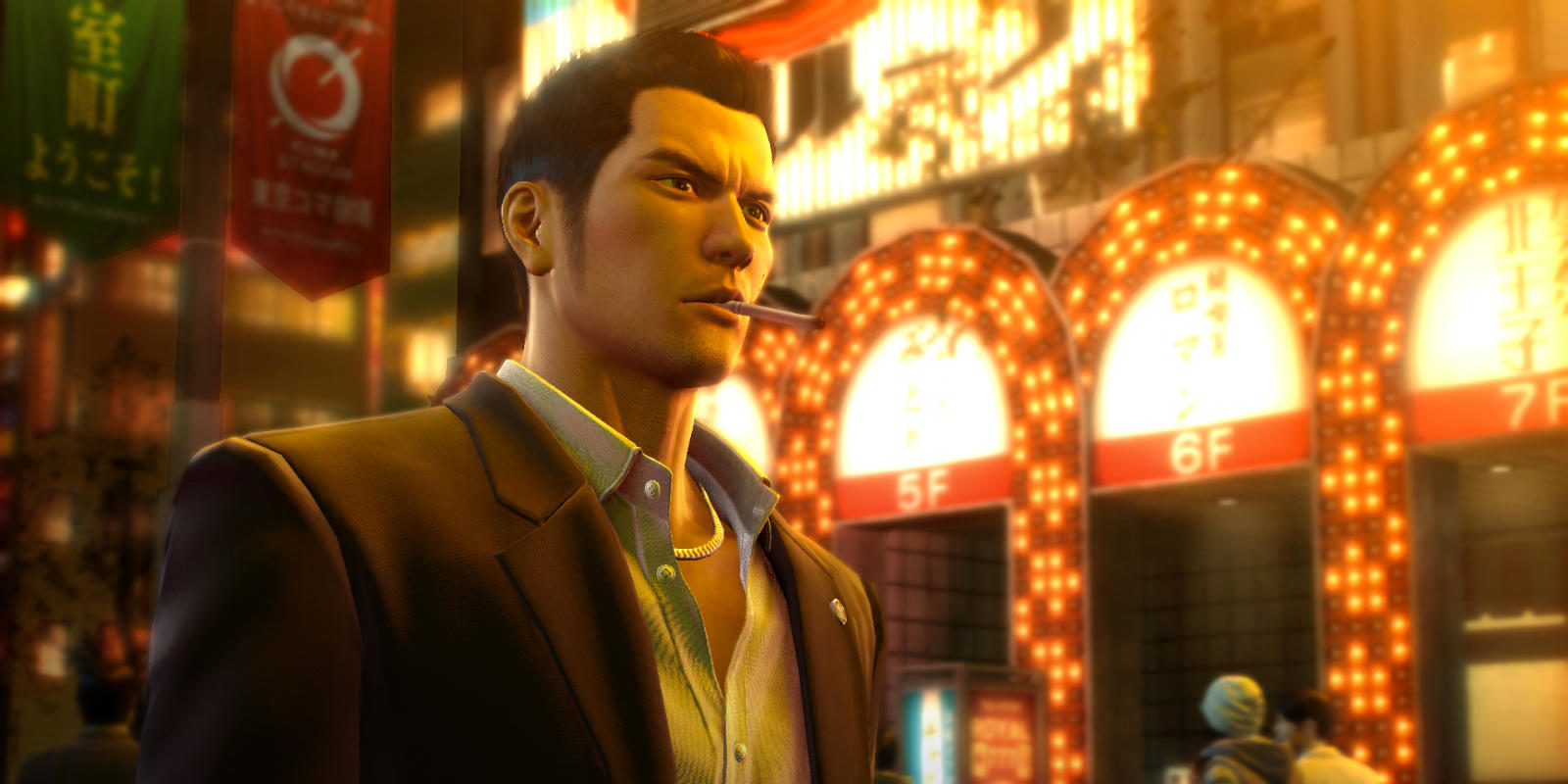 A young Yakuza outcast, Kazuma Kiryu, smokes a cigarette in front of a theater in the red light district of Kamurocho.