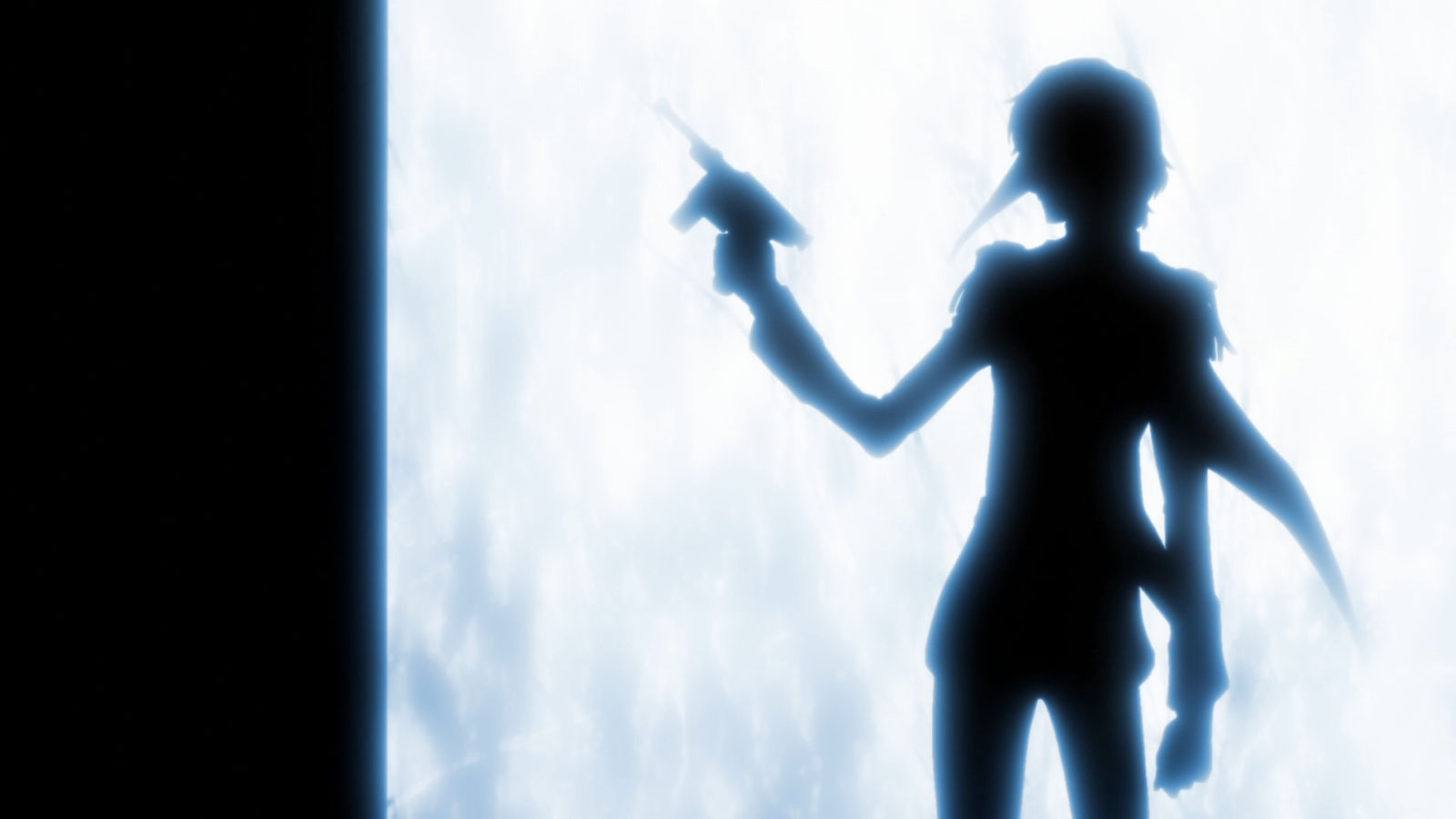 "The silhouette of ""Crow,"" one of the Phantom Thieves, as he stands confidently poised with pistol in hand"
