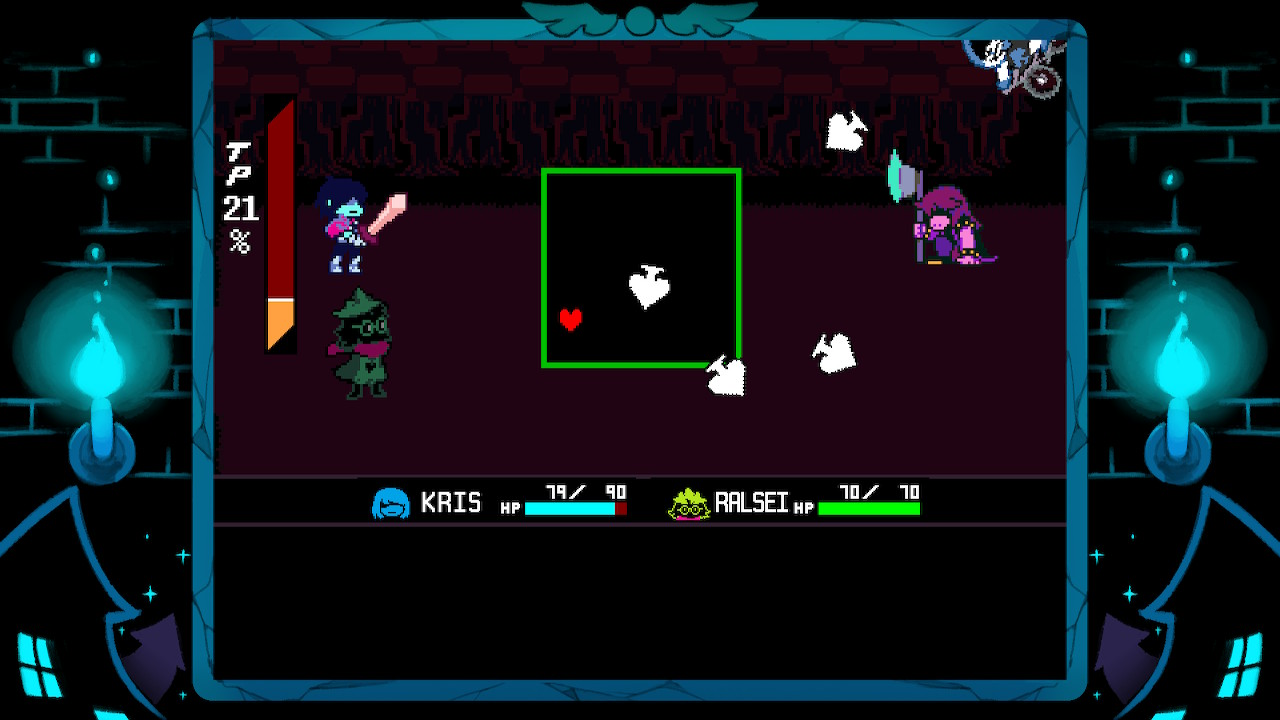 The player's avatar, a small, red heart, weaves in and out of spade-shaped attacks. Kris and Ralsei have teamed up to try and persuade a familiar enemy.