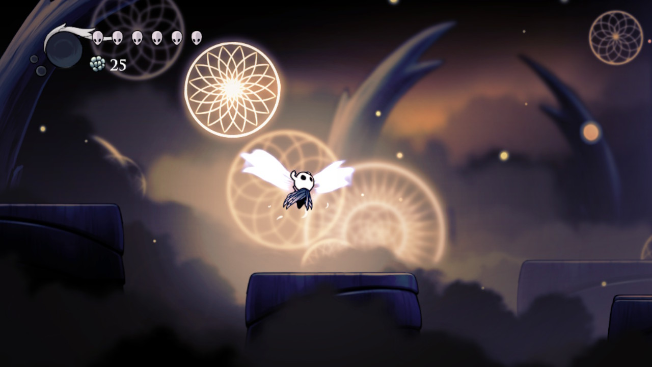 """Hollow Knight's cute protagonist, """"The Wanderer,"""" flaps ghostly butterfly wings to soar through a surreal, dream-like space. Like dreamcatchers, intricate radial projections glow in midair, casting light on the bed of clouds in the distance."""