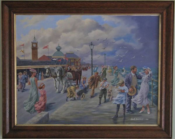 Framed Original Oil On Canvas, Cleethorpes Promenade By Keith Baldock