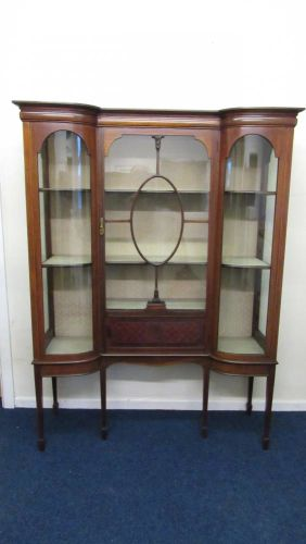 Edwardian Shaped Display Cabinet
