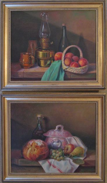 Pair Of 20th Century Gilt-framed & Signed Original Oil Paintings On Canvas, Still Lives By Georges Veller