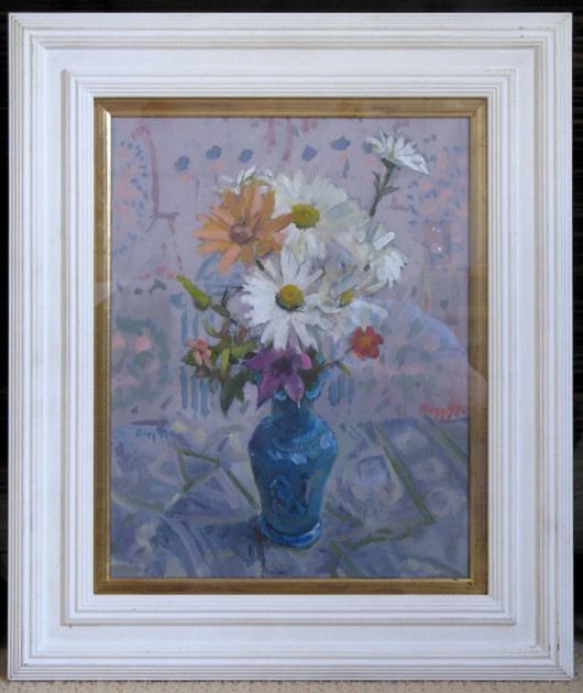 Signed Original Oil On Board The Blue Vase By Robert William Begg