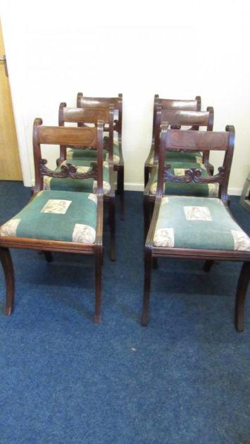 6 Regency Sabre Leg Chairs