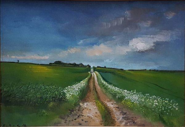 "Oil On Board ""farm Track Near Bircham Evening"""