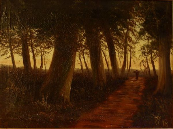 """Oil On Canvas """"collecting Firewood"""""""