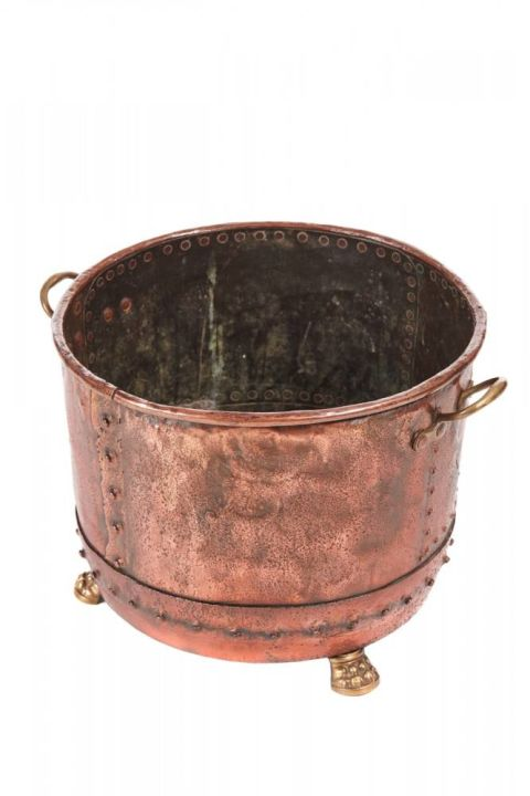 Large Round Antique Copper Log Bin