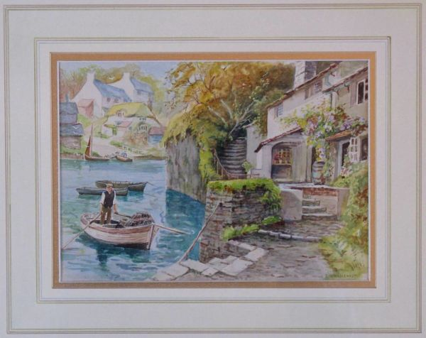 Framed Original Watercolour, Cornish Riverscape By E W Haslehust