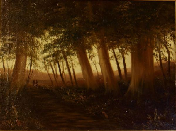 "Oil On Canvas ""figures On A Woodland Path"""