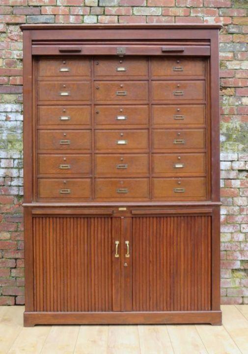 Parisian Oak Tambour Front Notary Cabinet