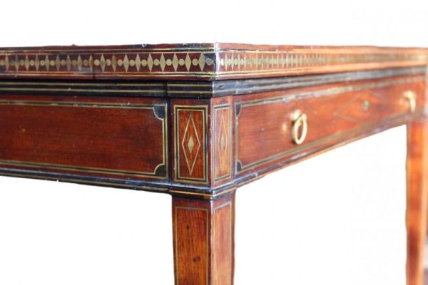 Brass Inlaid Table Possibly By Chapius