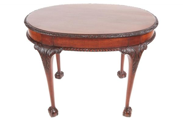 Antique Oval Carved Mahogany Centre Table