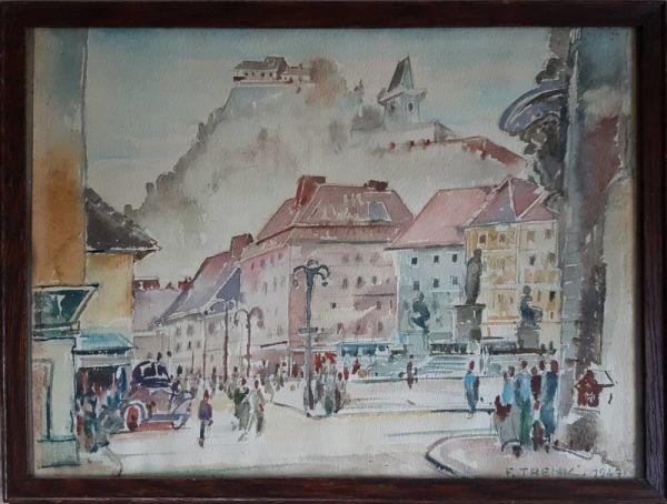 Watercolour Of Hauptplatz In Graz