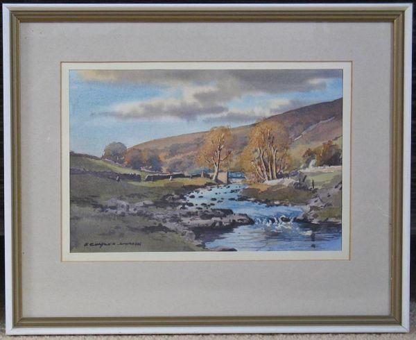 Original Watercolour, December Light In Langstrothdale By E C Simpson