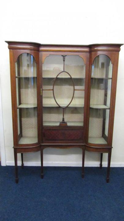 Edwardian Shaped Display Cabinet