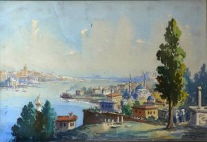 "Watercolour By Serif Renkgorur ""view Of The Bosphorus """
