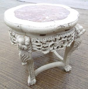 Painted Oriental Marble Topped Table