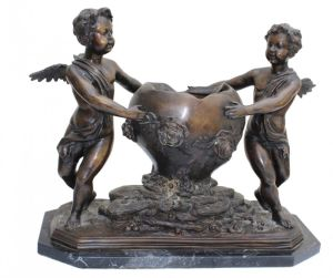 Large Bronze Jardiniere, Putti & Floral Decorati