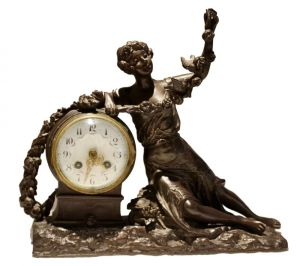Spelter Mantle Clock, Signed R. Richard