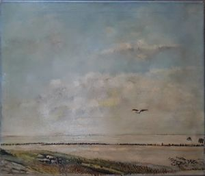 "Oil On Canvas By Dirk Nyland ""a Seascape With A Seagull In A Cloudy Sky"""