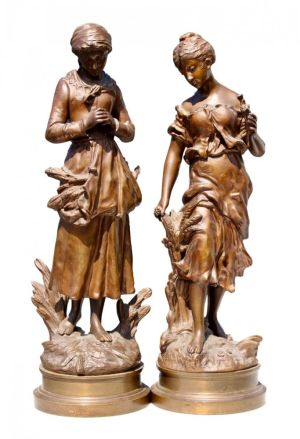 Pair Of Victorian Bronze Figures, Signed.