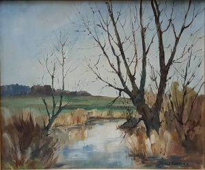 "Oil On Board ""river Nar, West Acre"""