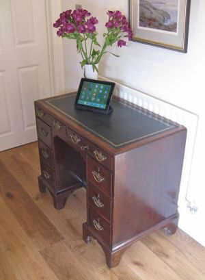 George II Cuban Mahogany Caddy Top Kneehole Writing Desk
